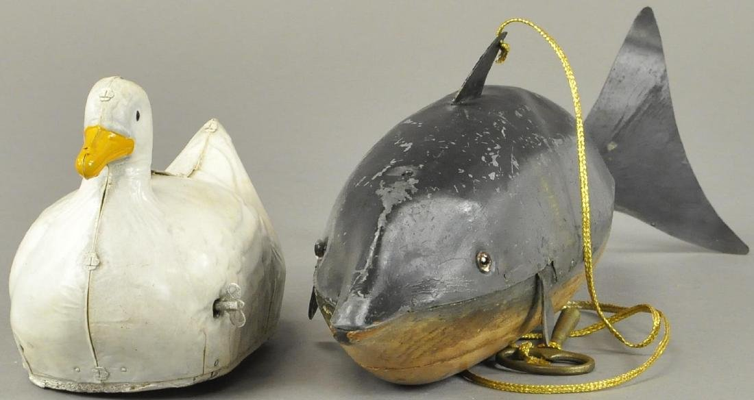 GERMAN TIN DIVING WHALE & SWIMMING DUCK - 3