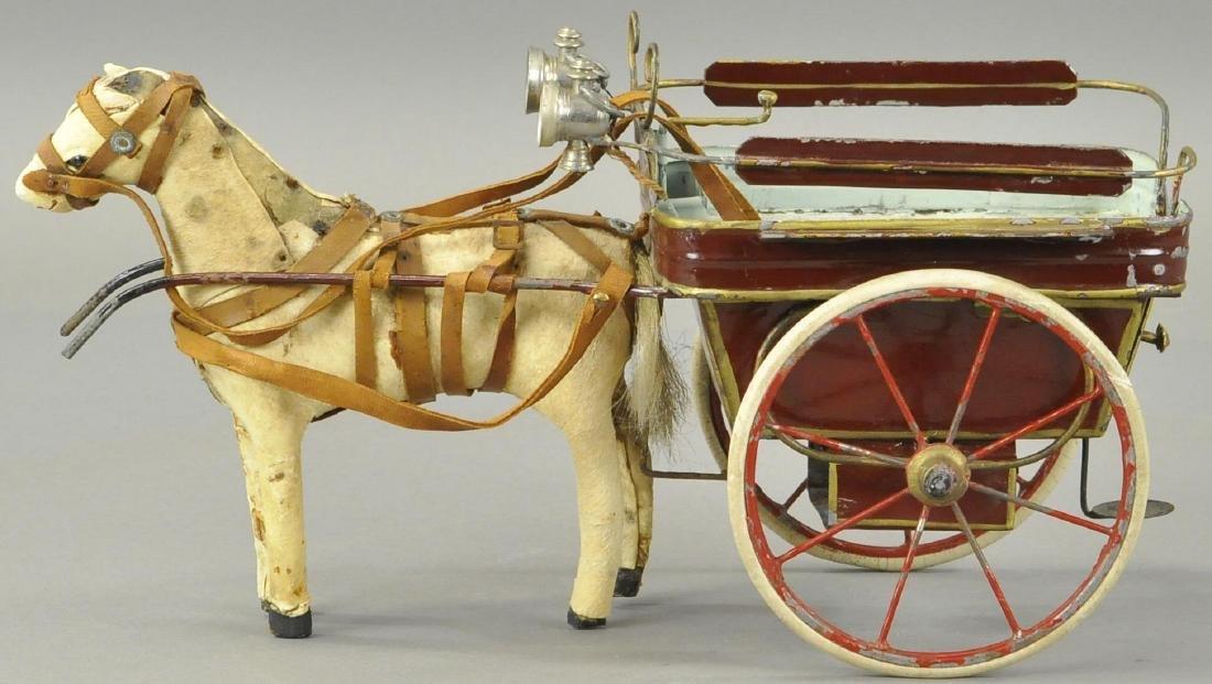 HORSE DRAWN TIN CART - FRENCH/GERMAN