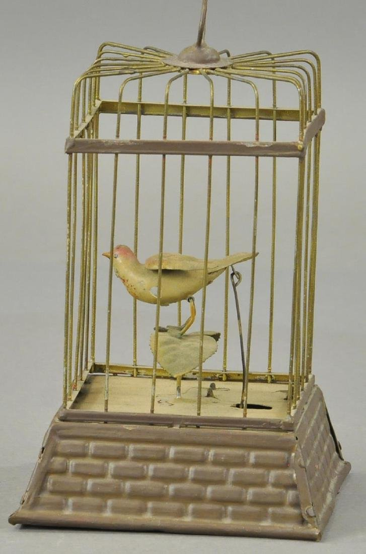 GERMAN WIN-UP BIRD IN CAGE