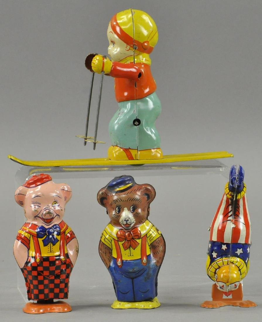 FOUR CHEIN WIND UP TIN TOYS GROUPING