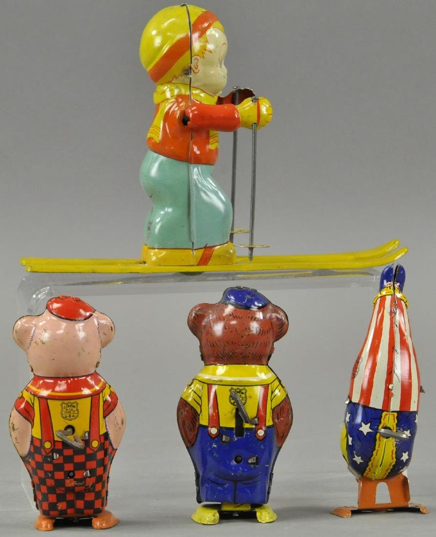 FOUR CHEIN WIND UP TIN TOYS GROUPING - 2