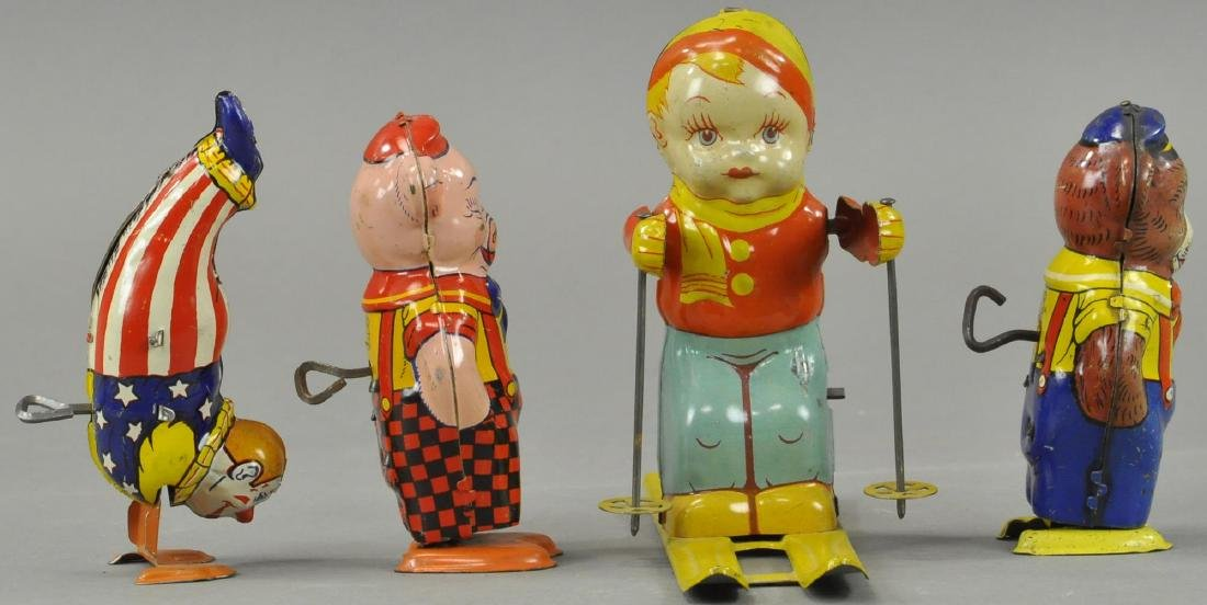 FOUR CHEIN WIND UP TIN TOYS GROUPING - 3