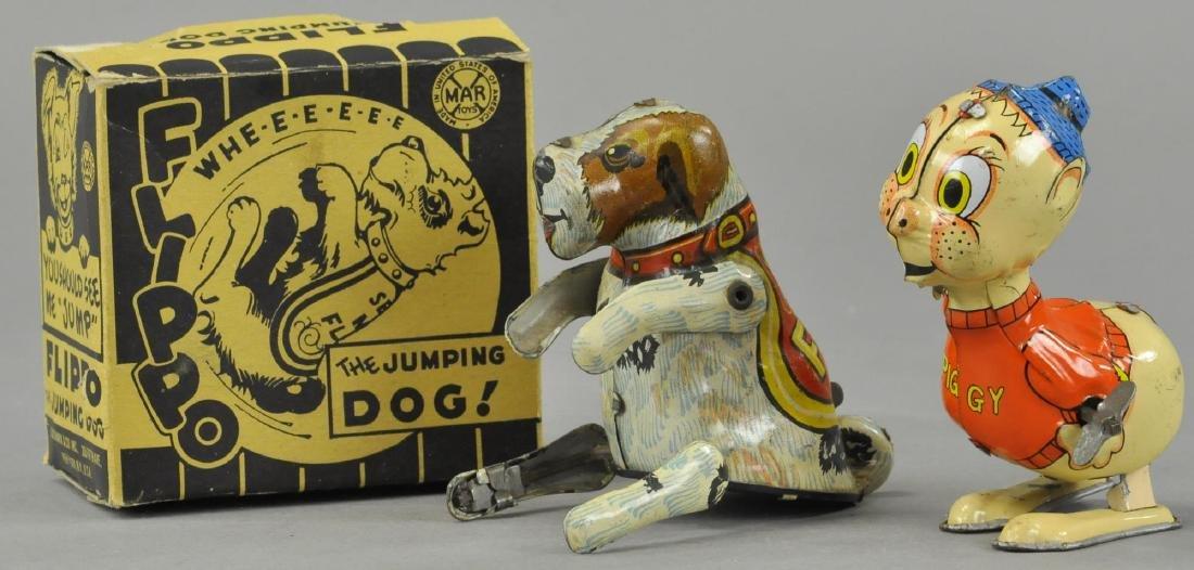 MARX PIGGY & BOXED FLIPPO DOG