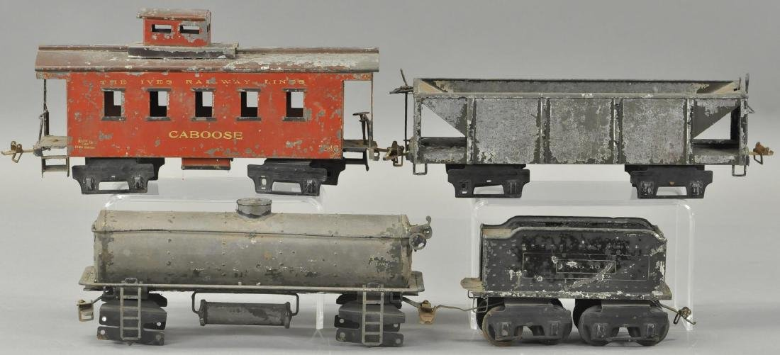 LOT OF FOUR IVES FREIGHT CARS AND TENDER - 2
