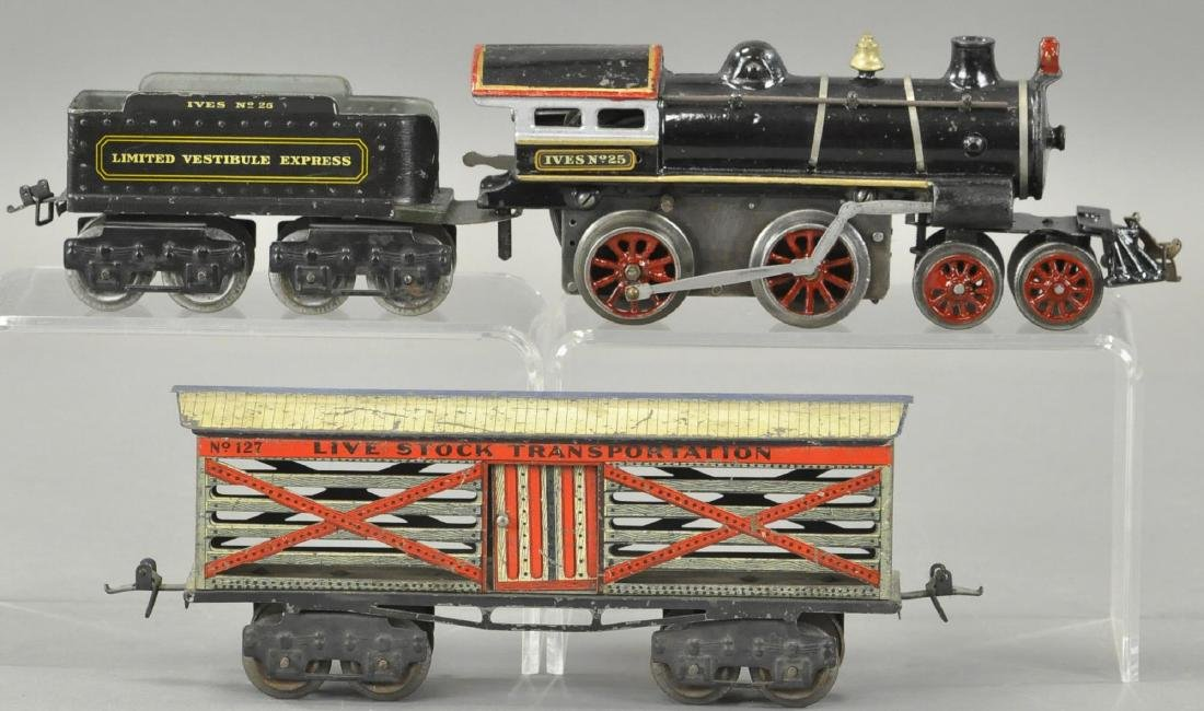 IVES NO. 25 LOCOMOTIVE AND CATTLE CAR