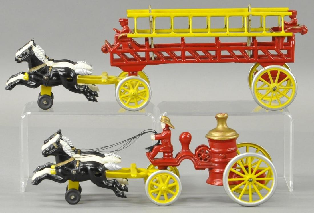 TWO KENTON HORSE DRAWN FIRE TRUCKS