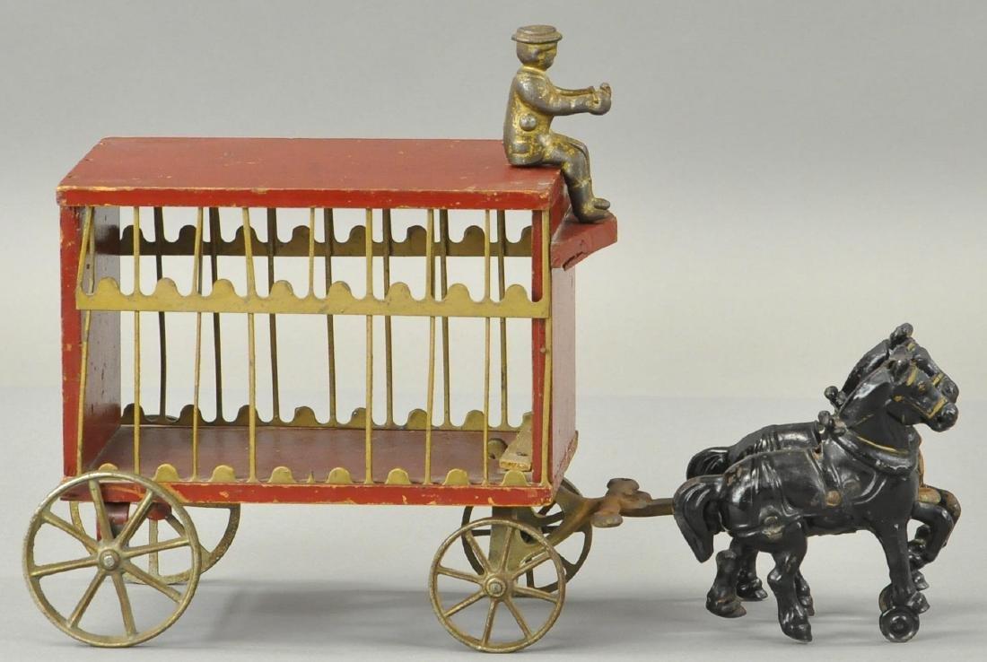 ARCADE HORSE DRAWN CIRCUS CAGE - WOODEN