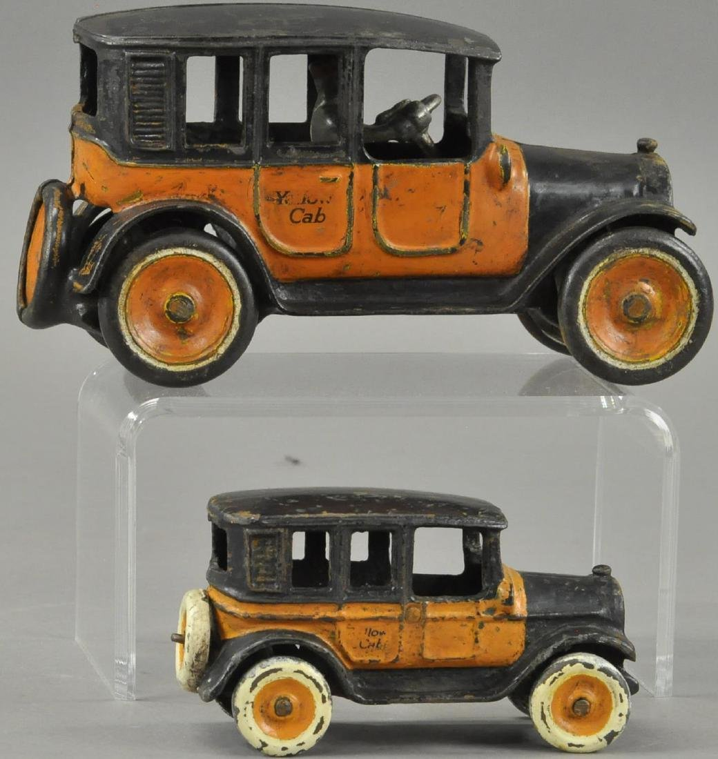 PAIR OF ARCADE YELLOW CAB TAXIS - 3