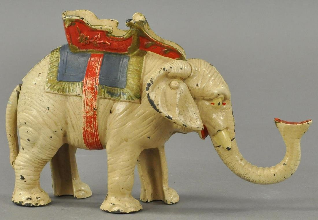HUBLEY ELEPHANT PULL TAIL MECHANICAL BANK