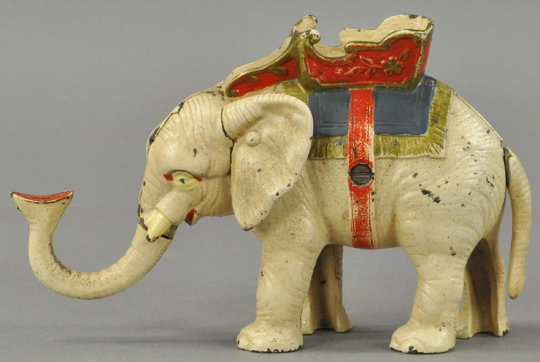 HUBLEY ELEPHANT PULL TAIL MECHANICAL BANK - 3