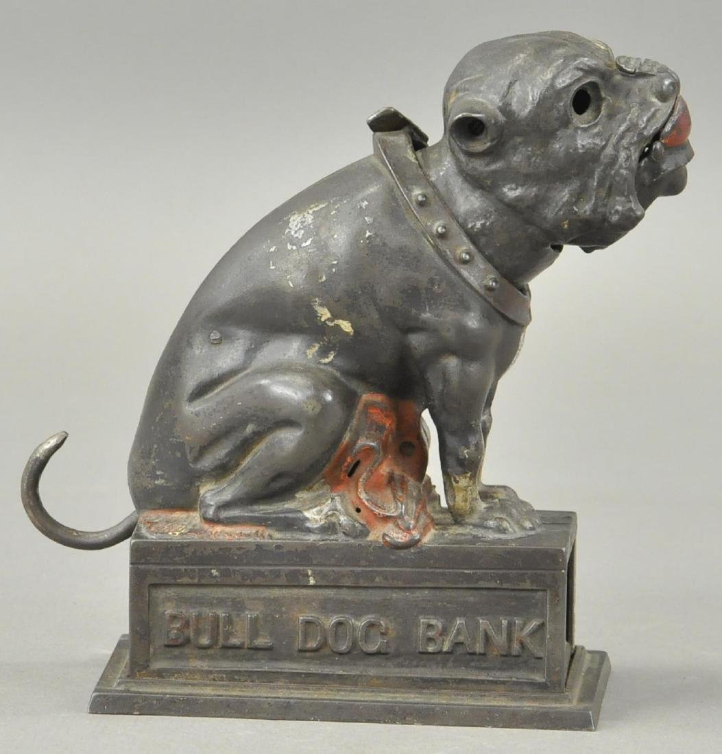 SEATED BULL DOG MECHANICAL BANK