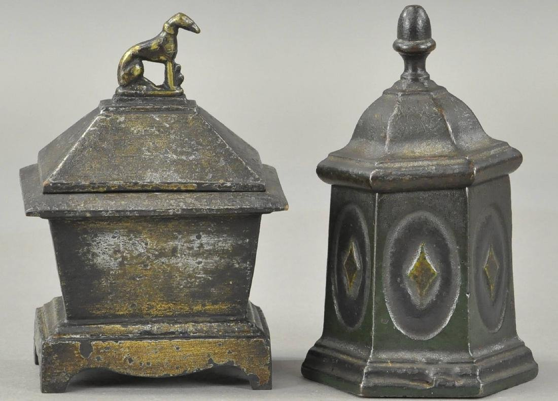 TWO CAST IRON TOBACCO HOLDERS - 2