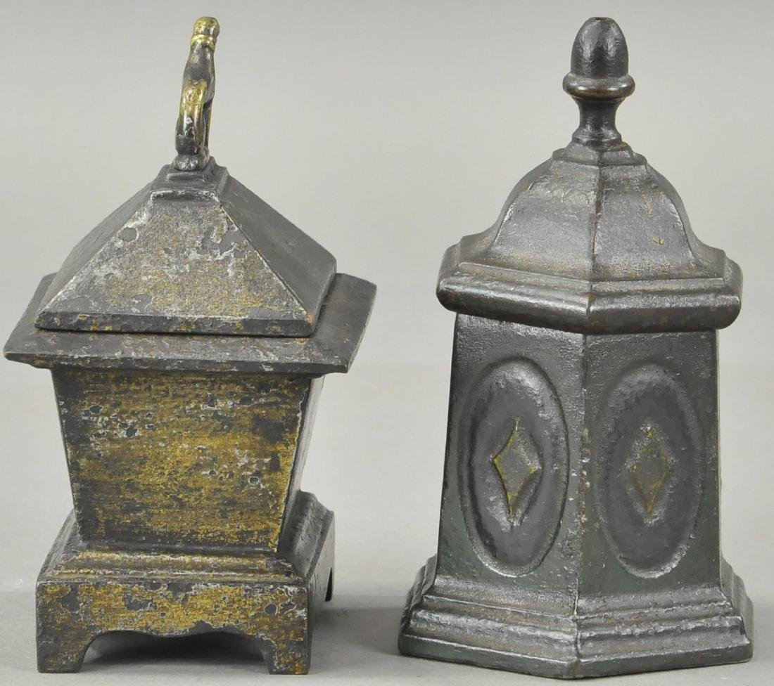TWO CAST IRON TOBACCO HOLDERS - 3