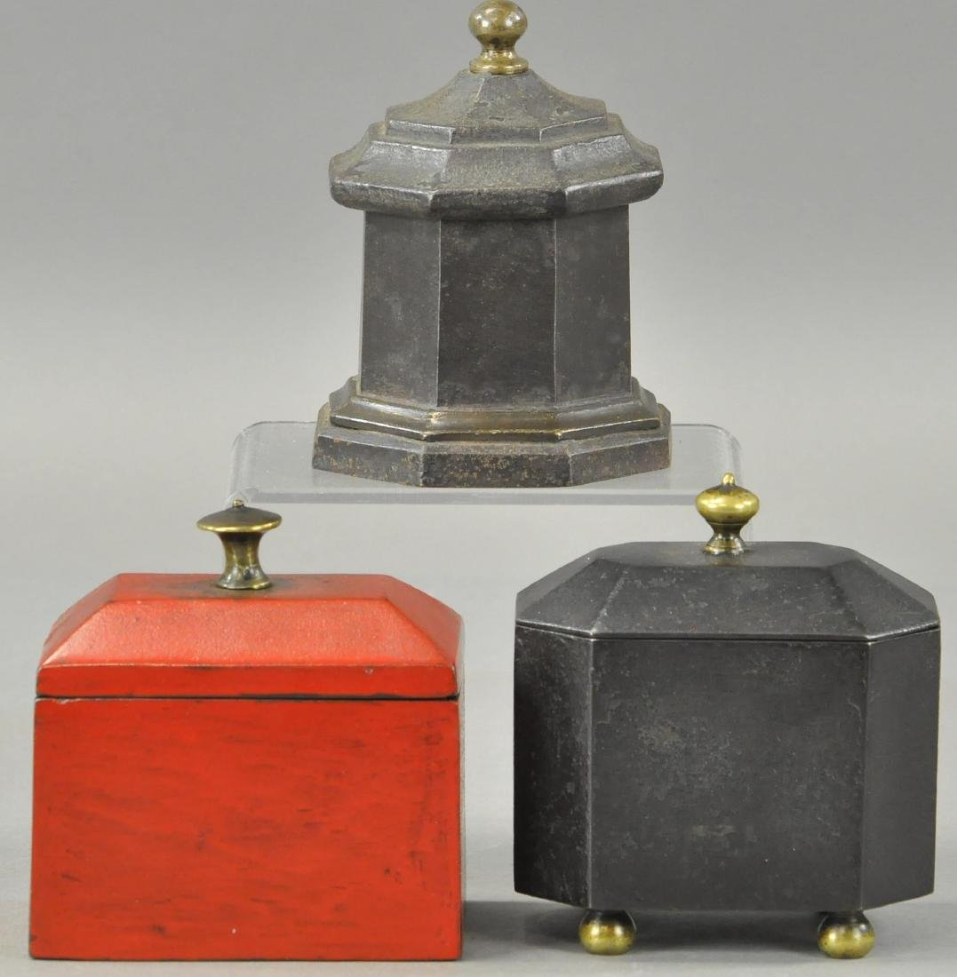THREE CAST IRON TOBACCO BOXES