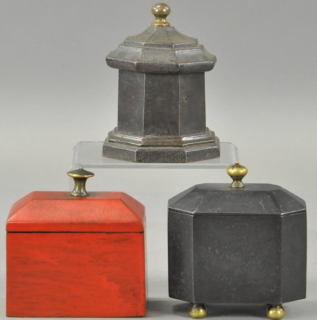 THREE CAST IRON TOBACCO BOXES - 2