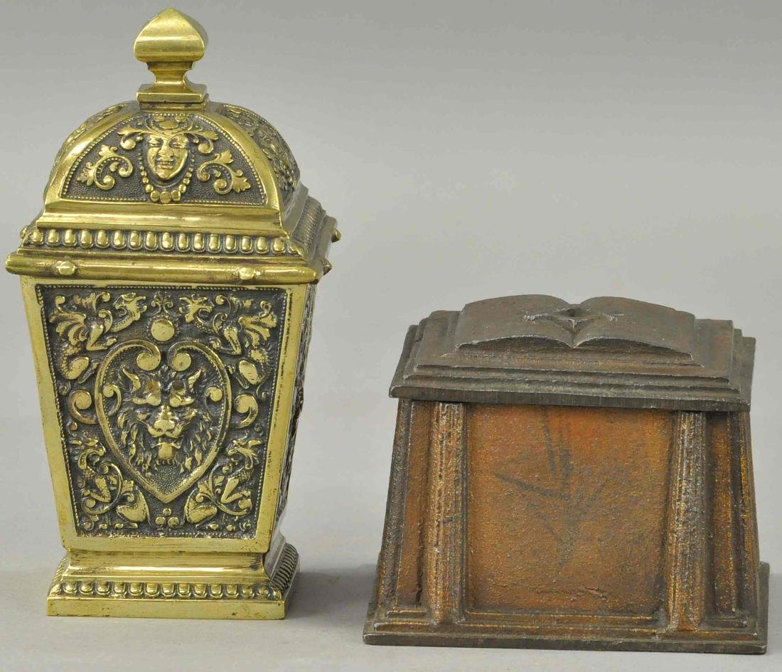 MASONIC TOBACCO BOX AND BRASS CLEOPATRA.