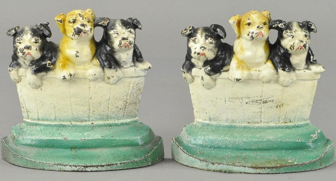 SET OF PUPS IN BASKET BOOKENDS