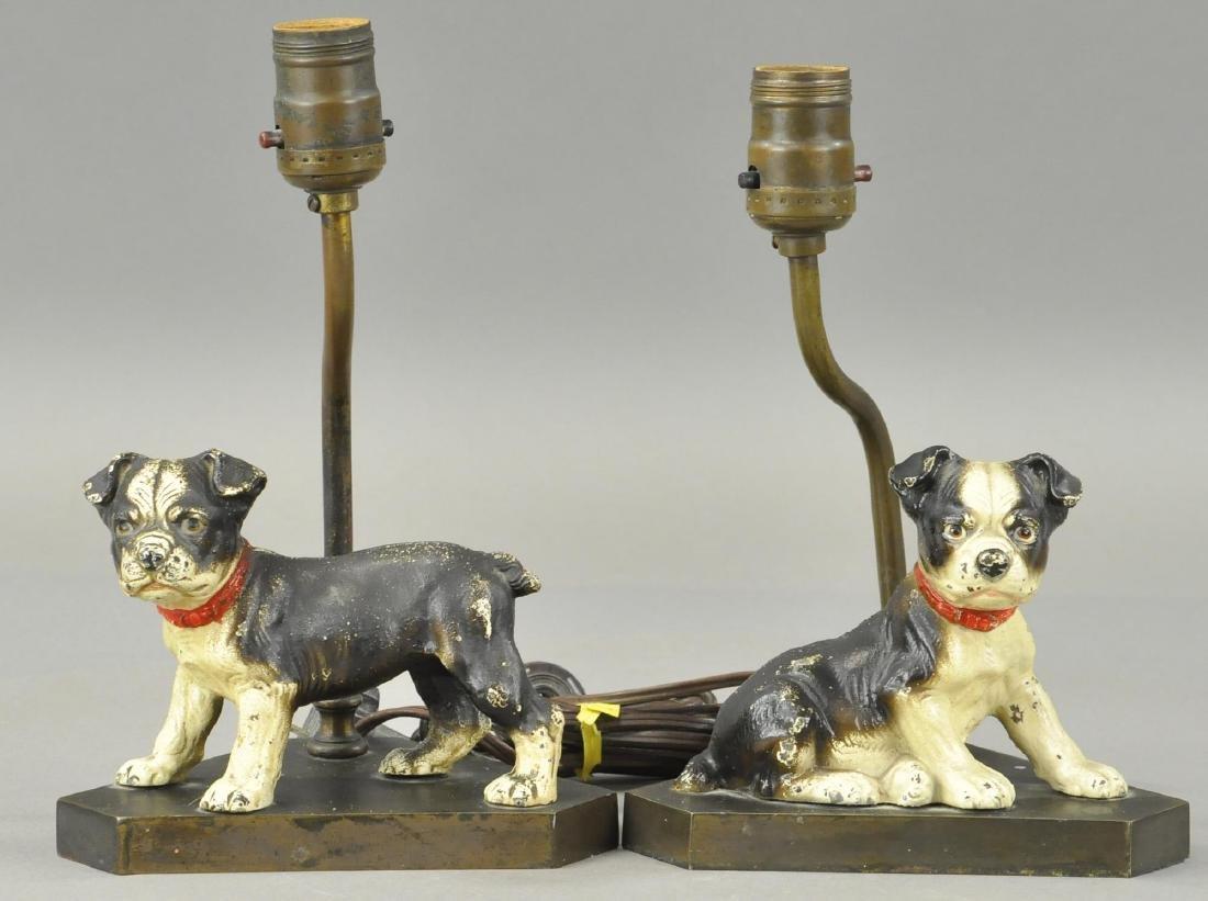 PAIR OF HUBLEY BOSTON TERRIOR PUPS LAMP BASES
