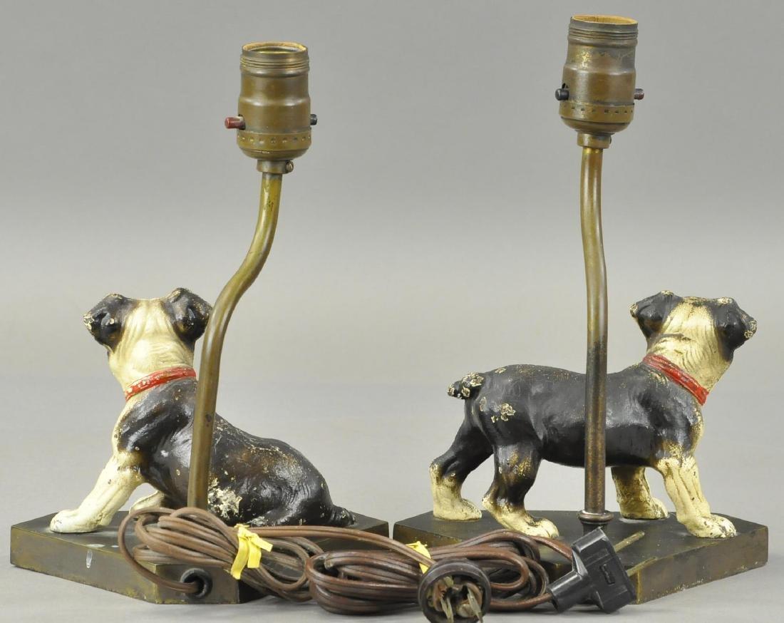 PAIR OF HUBLEY BOSTON TERRIOR PUPS LAMP BASES - 2
