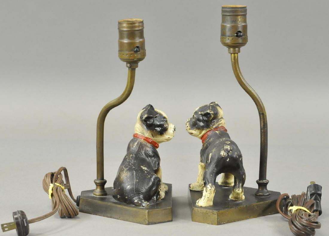 PAIR OF HUBLEY BOSTON TERRIOR PUPS LAMP BASES - 3