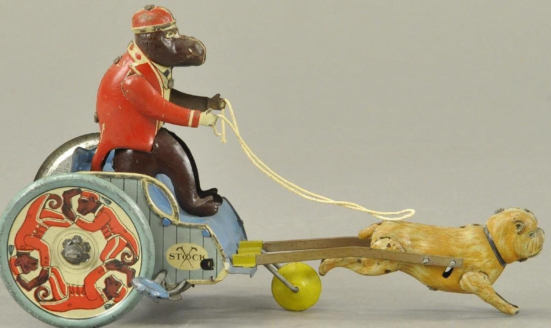 STOCK MONKEY IN DOG CART