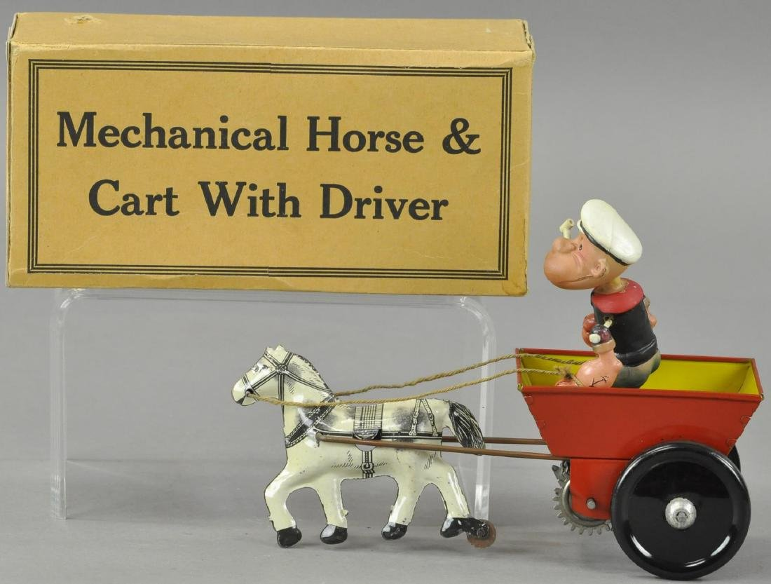 BOXED POPEYE RIDING HORSE DRAWN CART