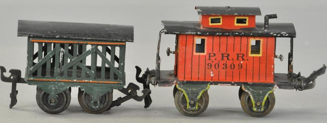 MARKLIN O GAUGE CABOOSE AND CATTLE CAR.