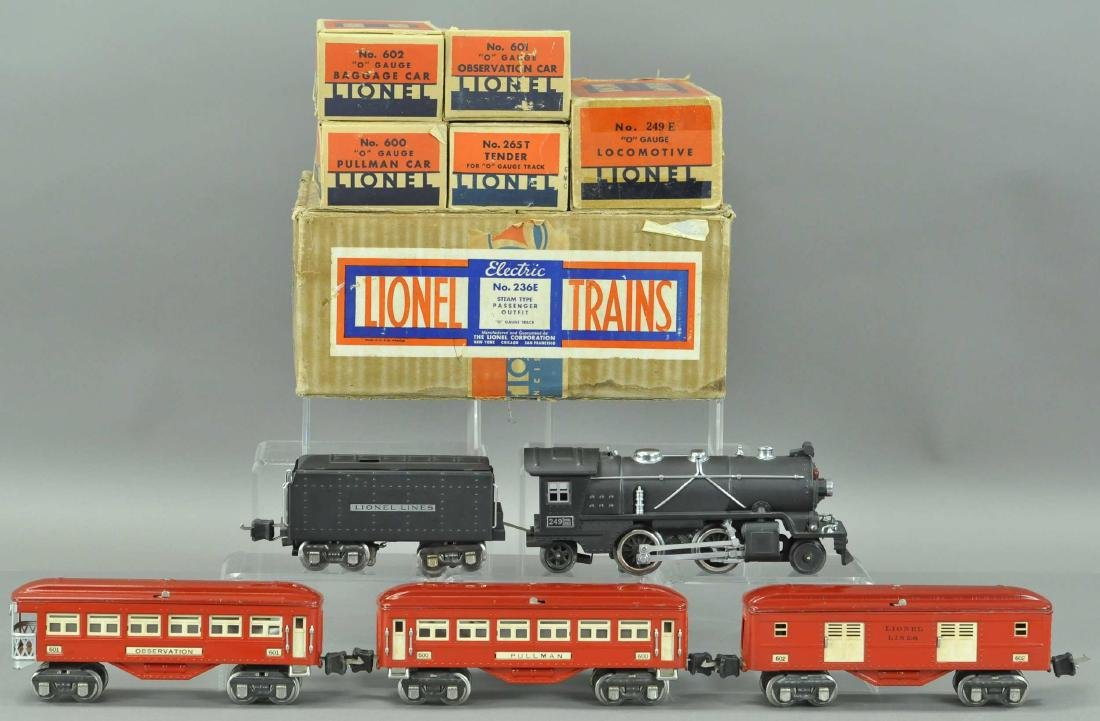 BOXED LIONEL 249 PASSENGER SET W/5 PIECES