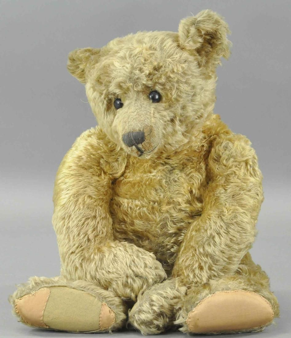 LARGE GOLD PLUSH MOHAIR TEDDY BEAR