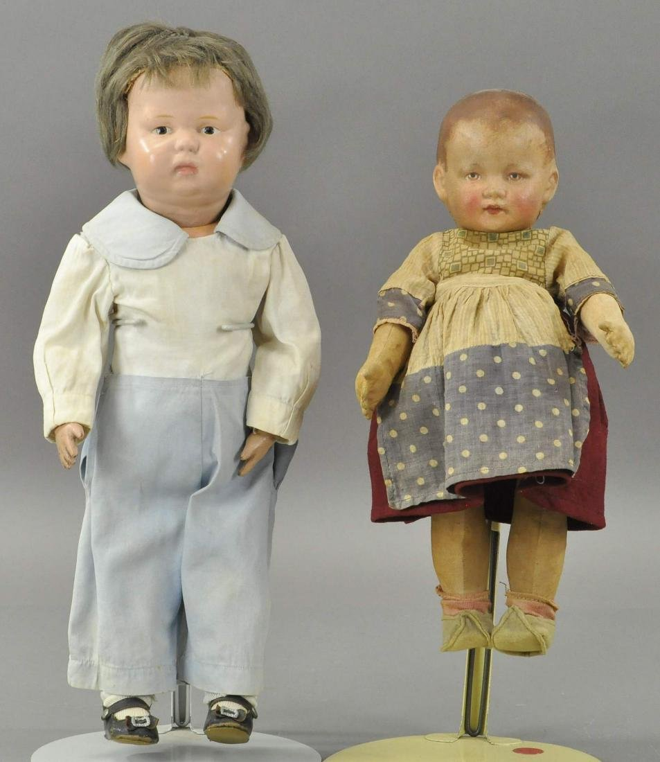 LOT OF TWO SCHOENHUT AND CLOTH DOLLS