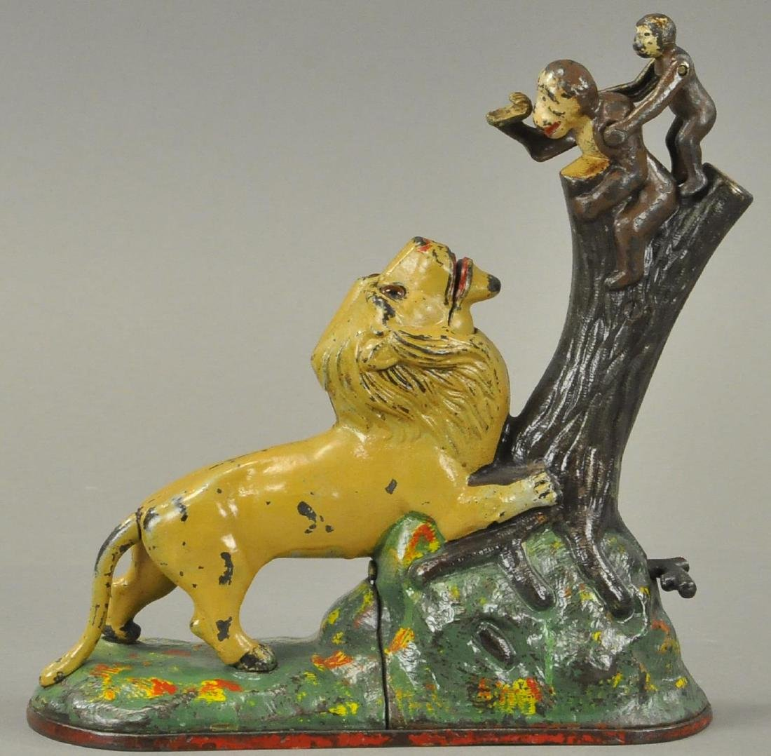 LIONS AND TWO MONKEYS MECHANICAL BANK