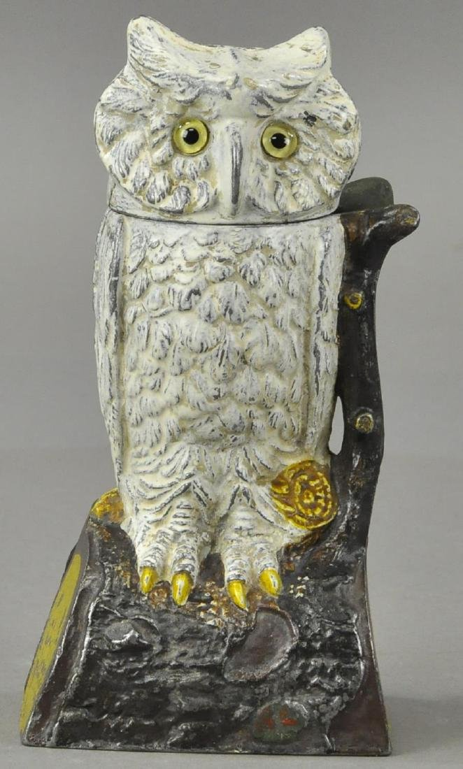 OWL TURNS HEAD MECHANICAL BANK - WHITE VERSION