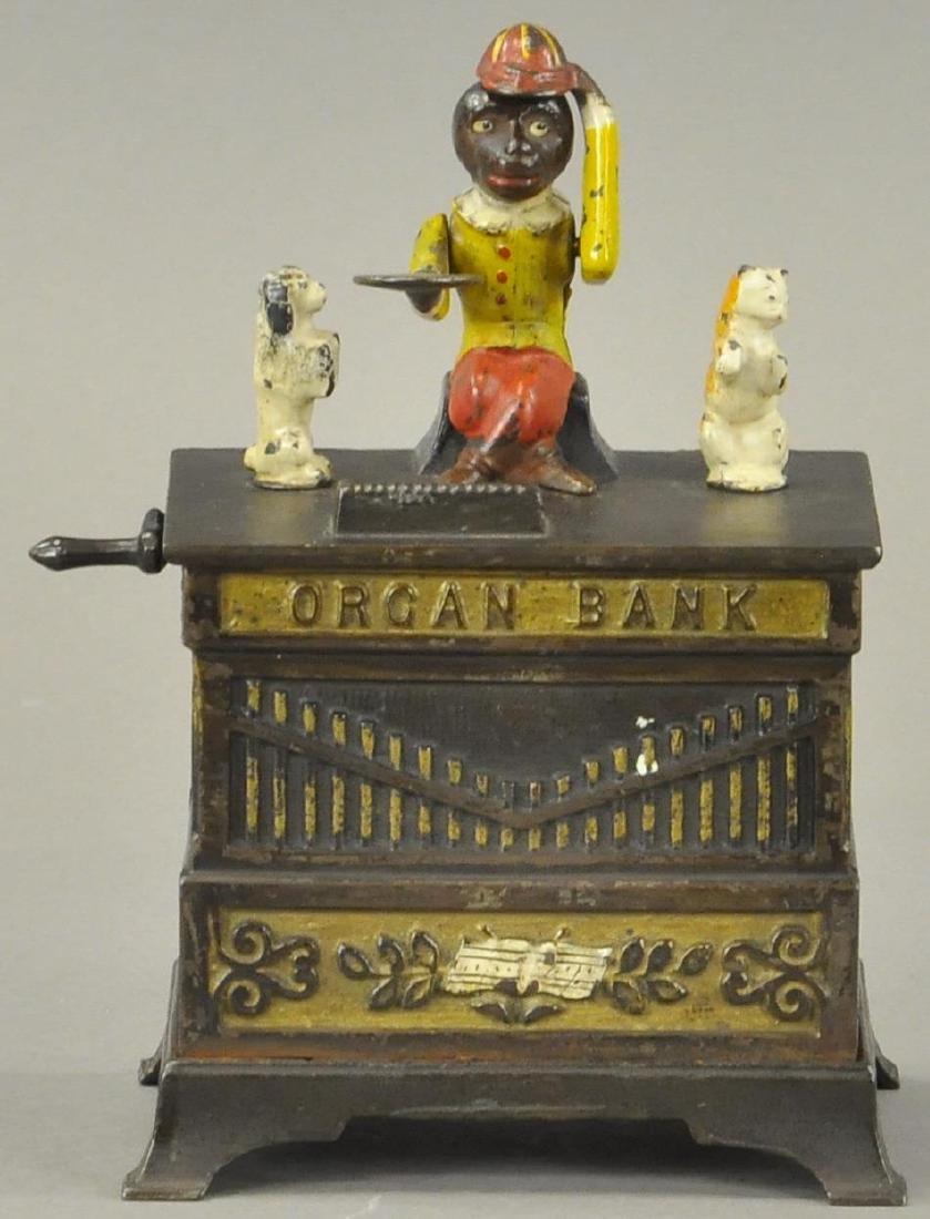 ORGAN CAT AND DOG MECHANICAL BANK