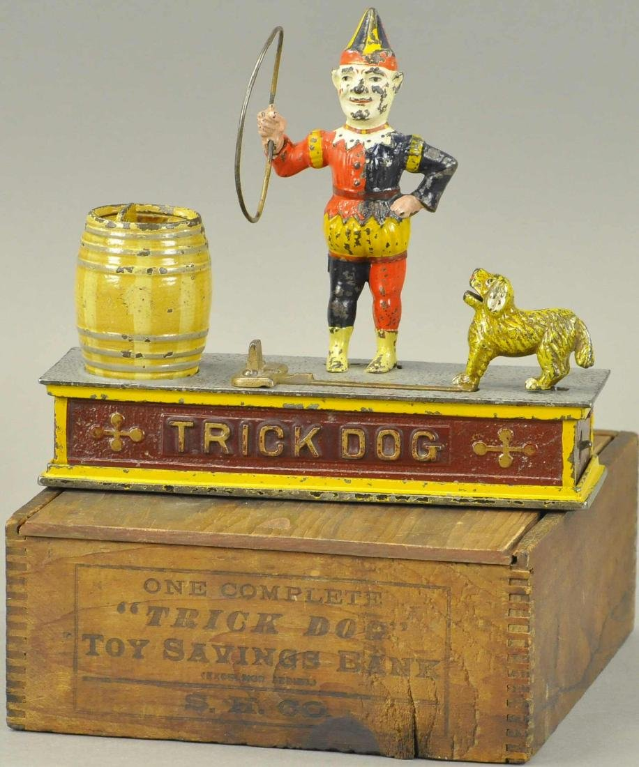 BOXED TRICK DOG MECHANICAL BANK