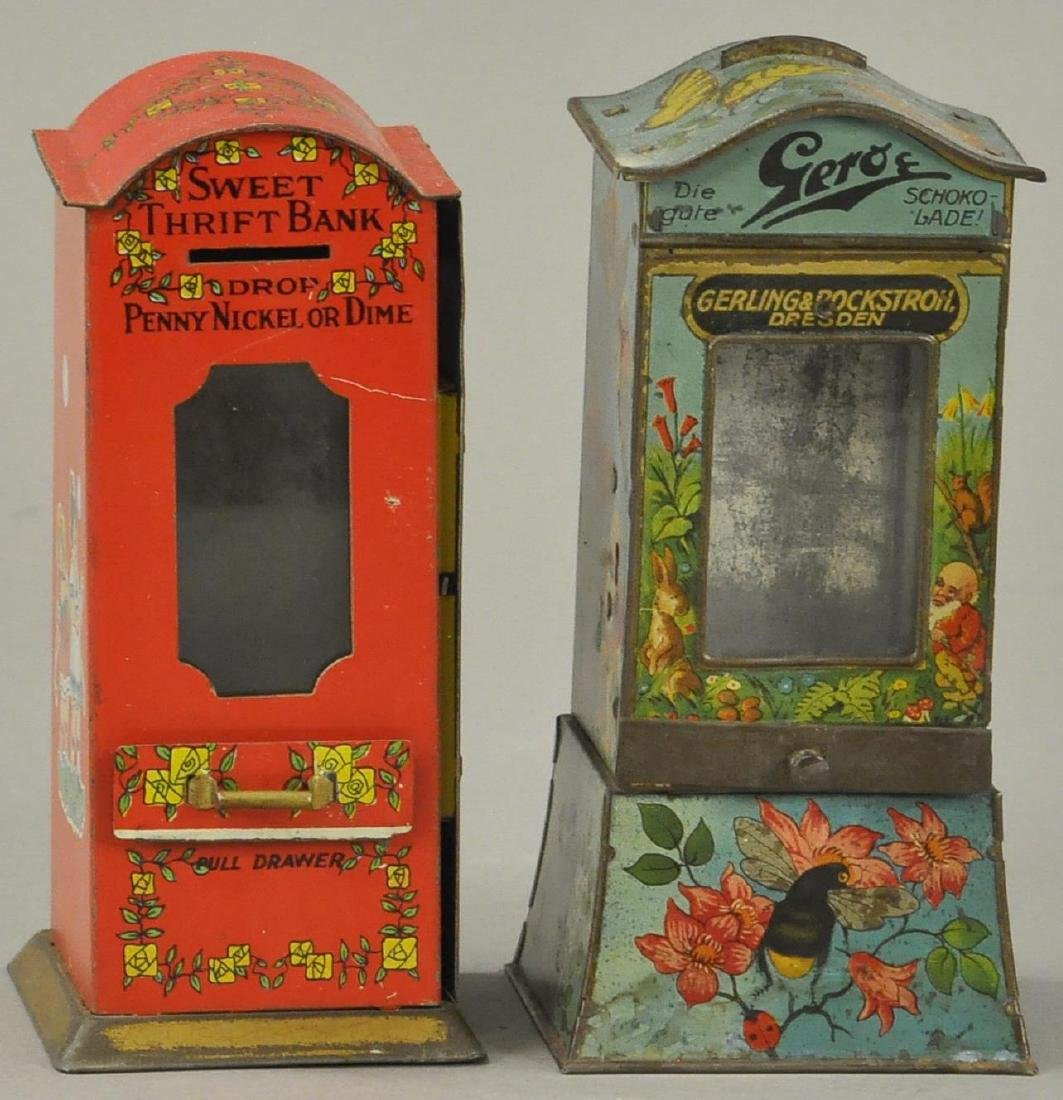 PAIR OF OF TIN VENDING BANKS