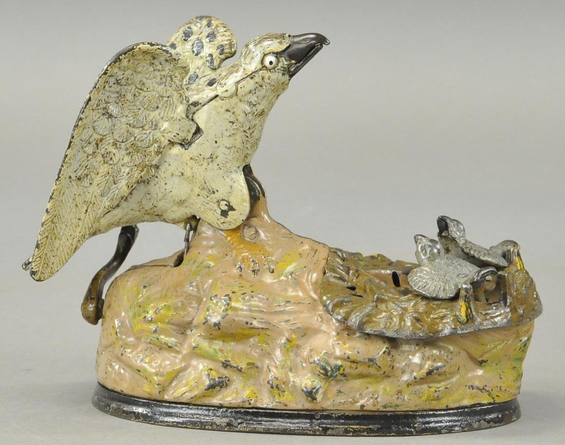 EAGLE AND EAGLETS IRON MECHANICAL BANK