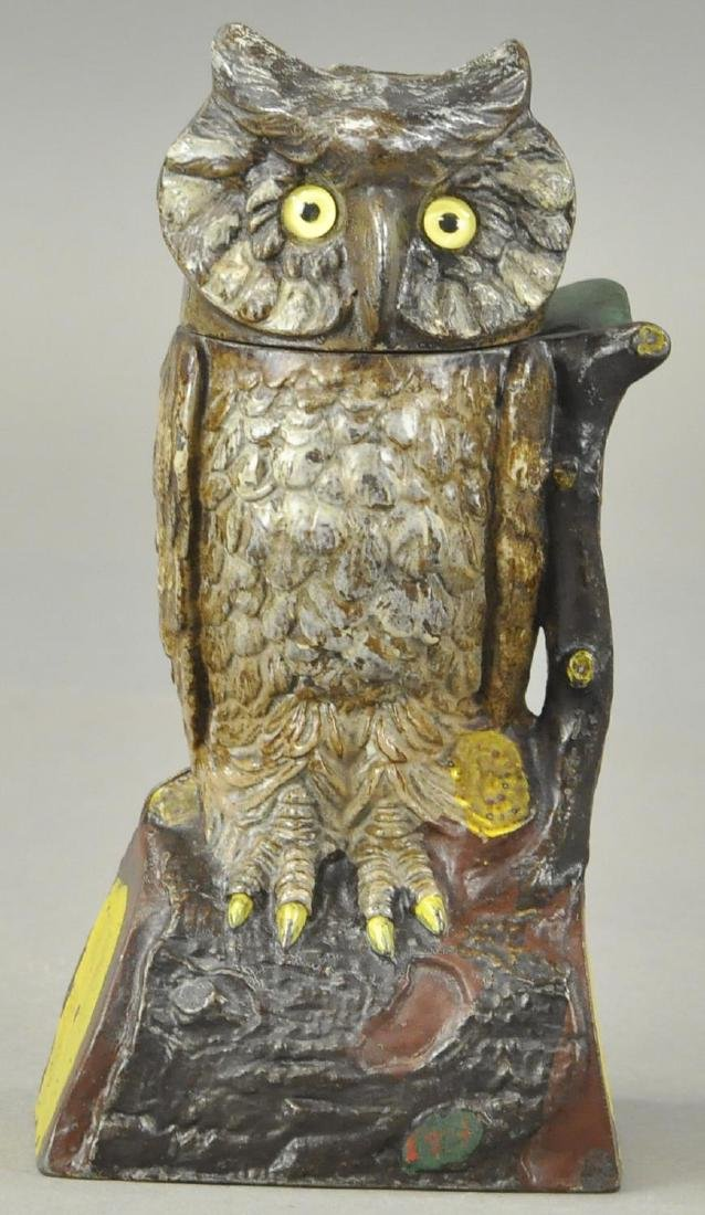 OWL TURNS HEAD MECHANICAL BANK - BROWN VERSION