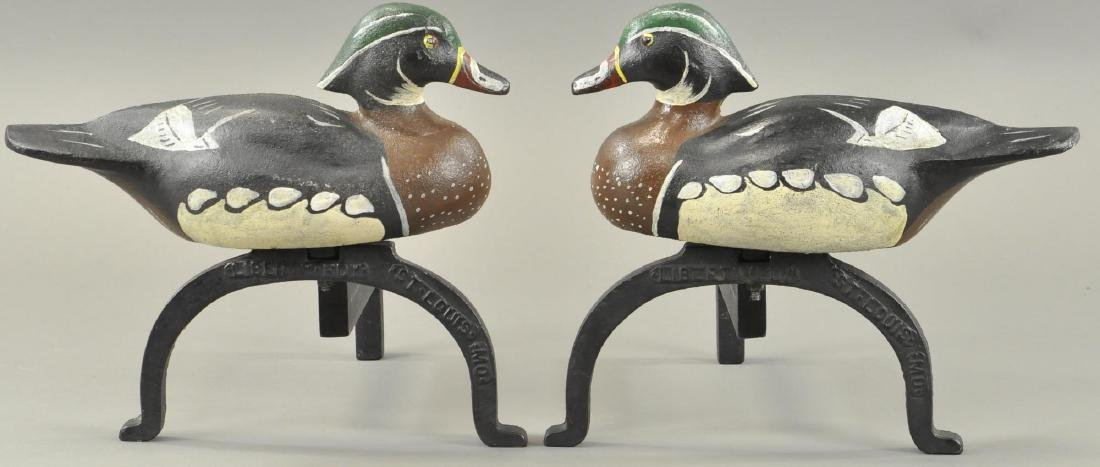 MALLARD DUCK FIREPLACE ANDIRONS - ST LOUIS