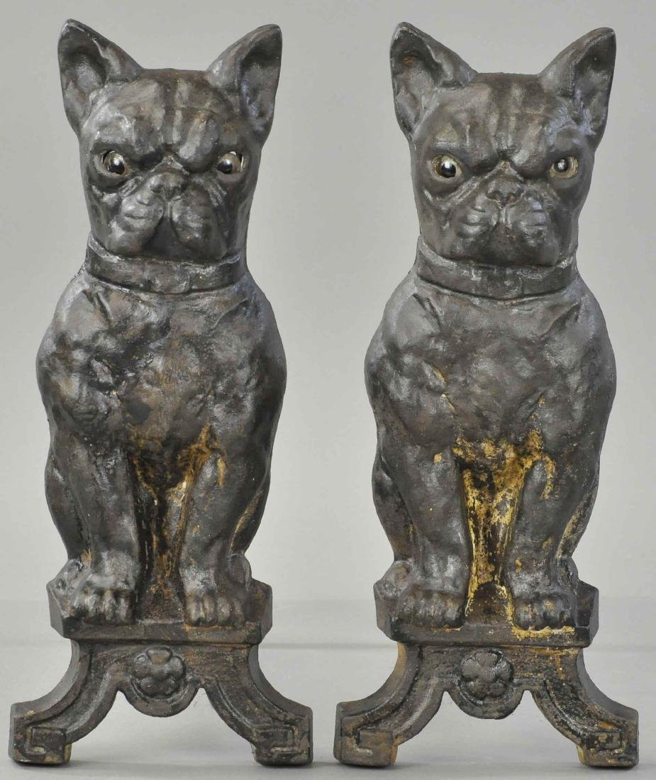 BOSTON TERRIER FIREPLACE ANDIRONS