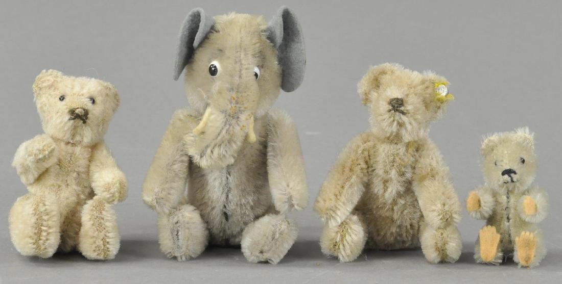 LOT OF FOUR MINIATURE STUFFED ANIMALS