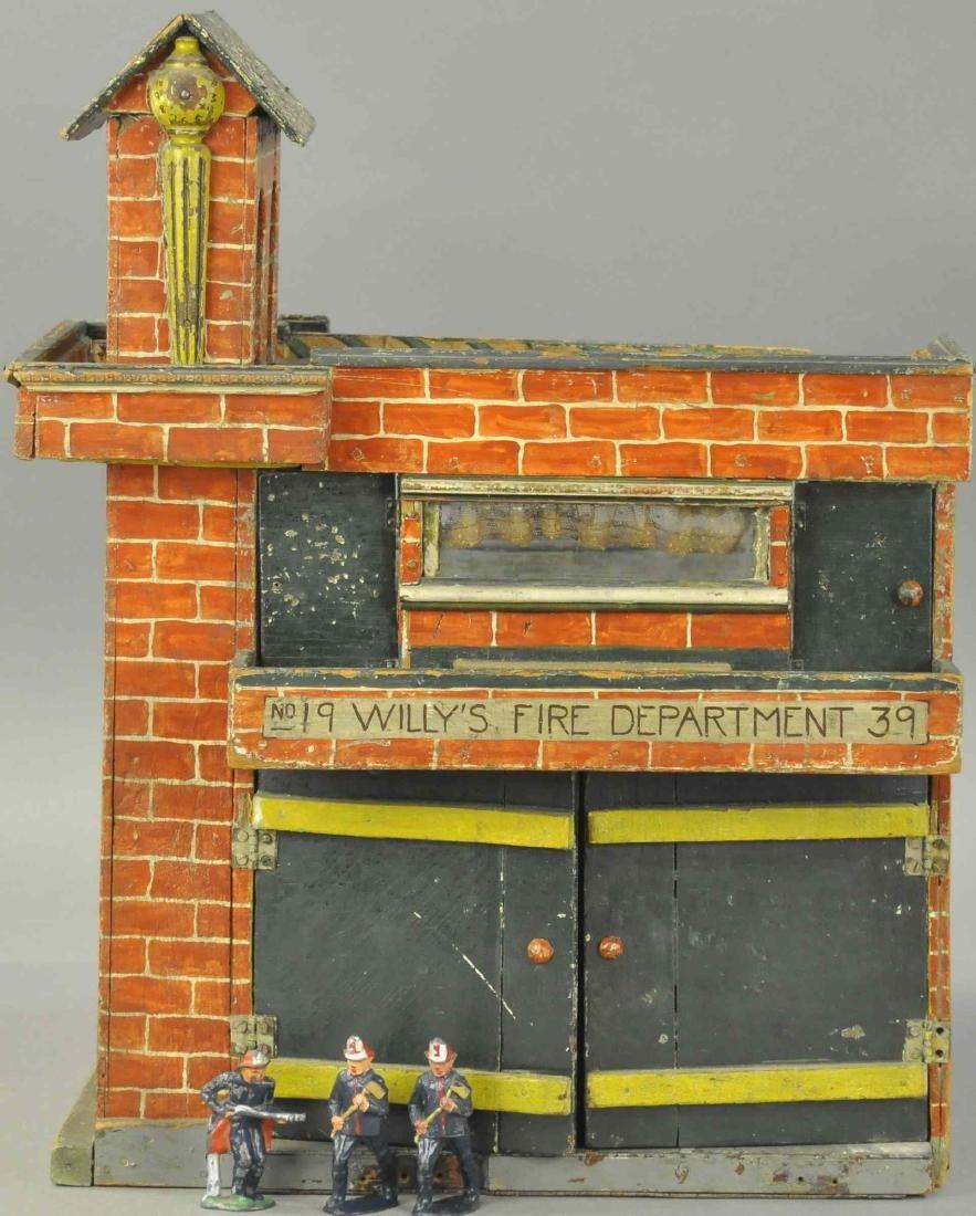 FOLK ART WOODEN FIRE DEPARTMENT HOUSE