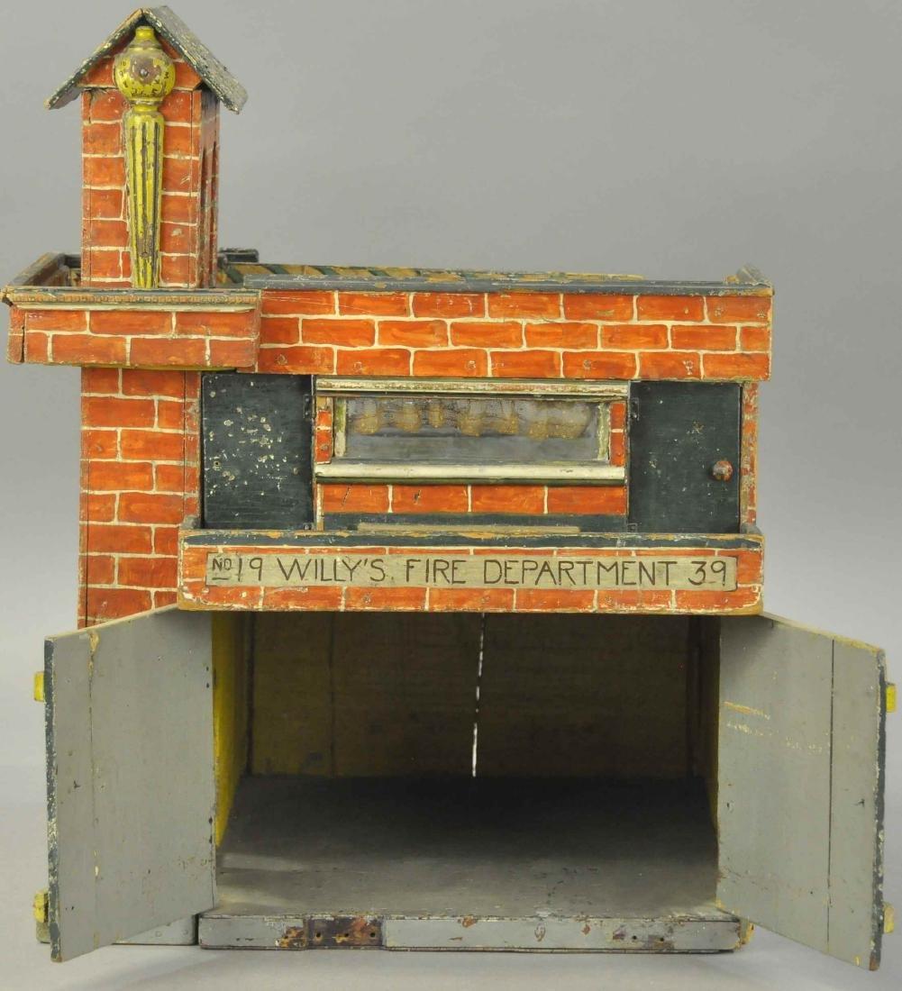 FOLK ART WOODEN FIRE DEPARTMENT HOUSE - 2