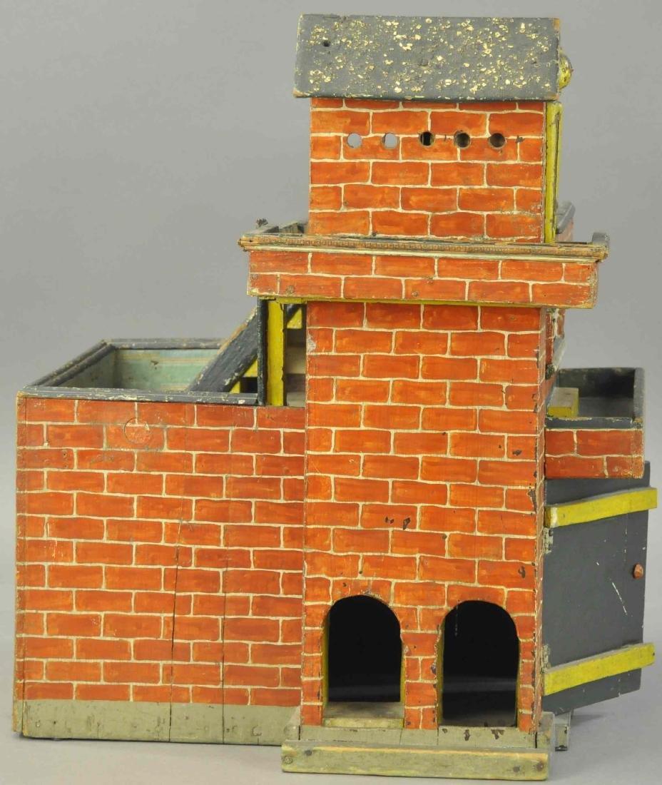 FOLK ART WOODEN FIRE DEPARTMENT HOUSE - 3