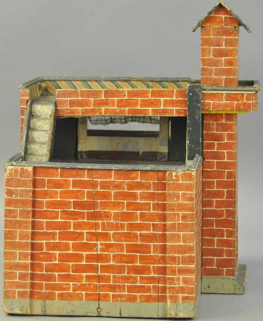 FOLK ART WOODEN FIRE DEPARTMENT HOUSE - 4