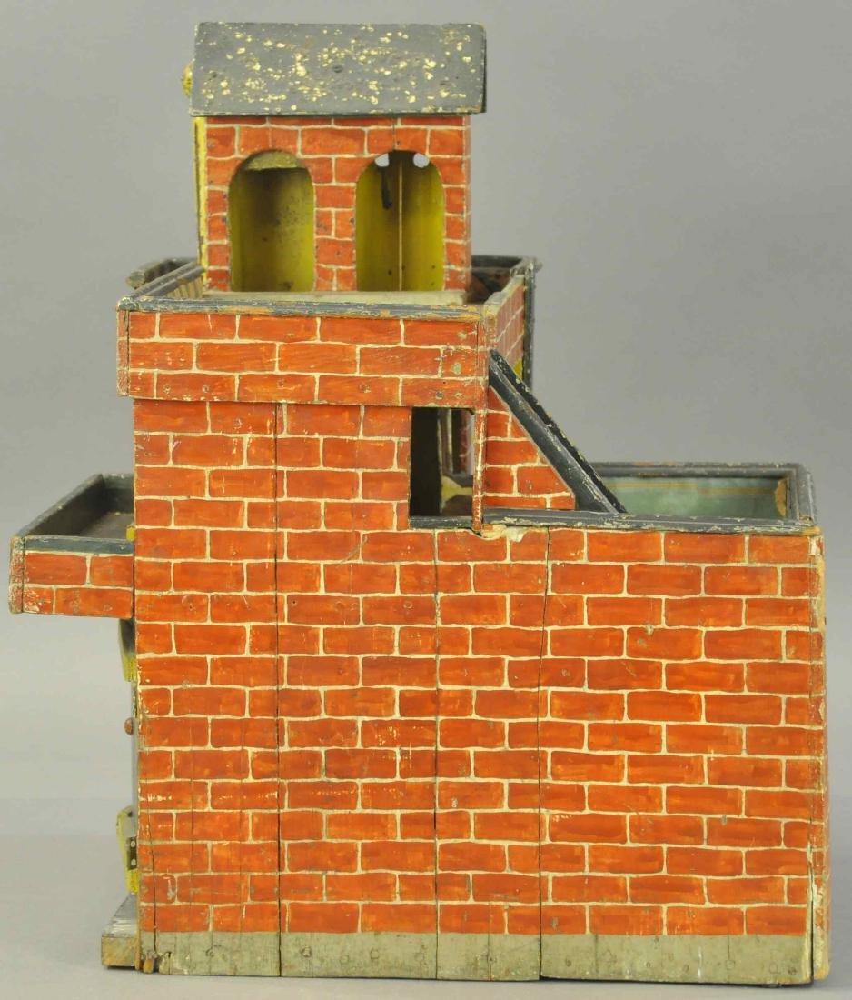 FOLK ART WOODEN FIRE DEPARTMENT HOUSE - 5
