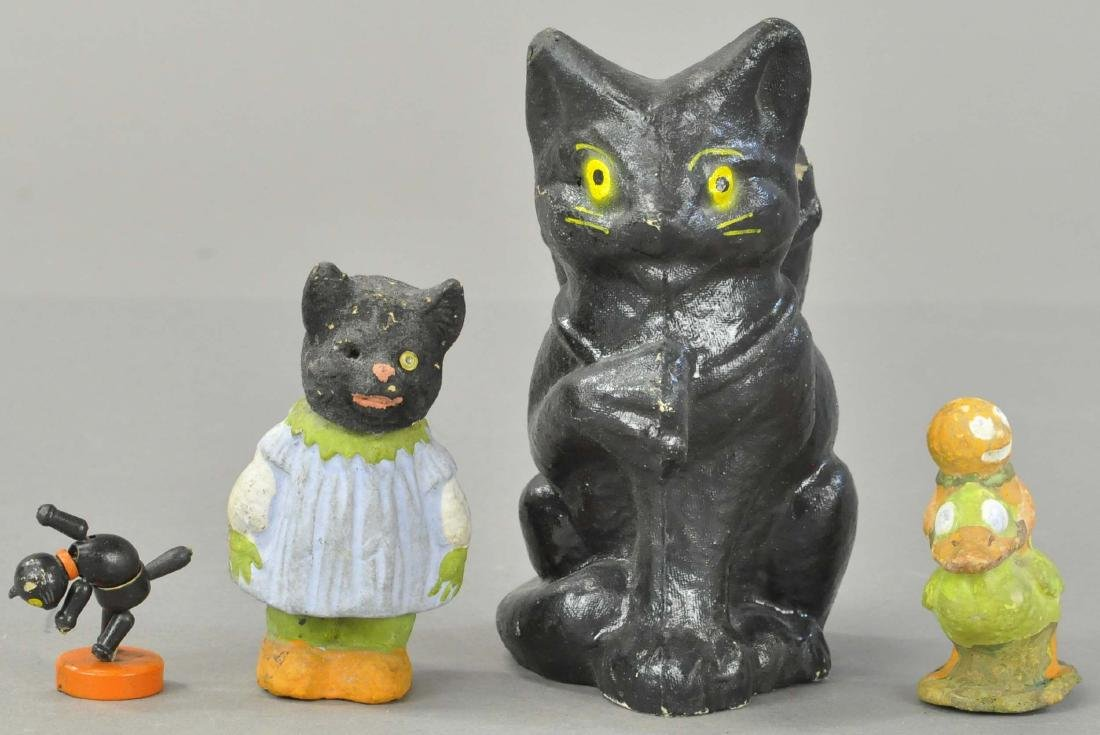 HALLOWEEN COMPOSITION BLACK CAT CANDY CONTAINER &