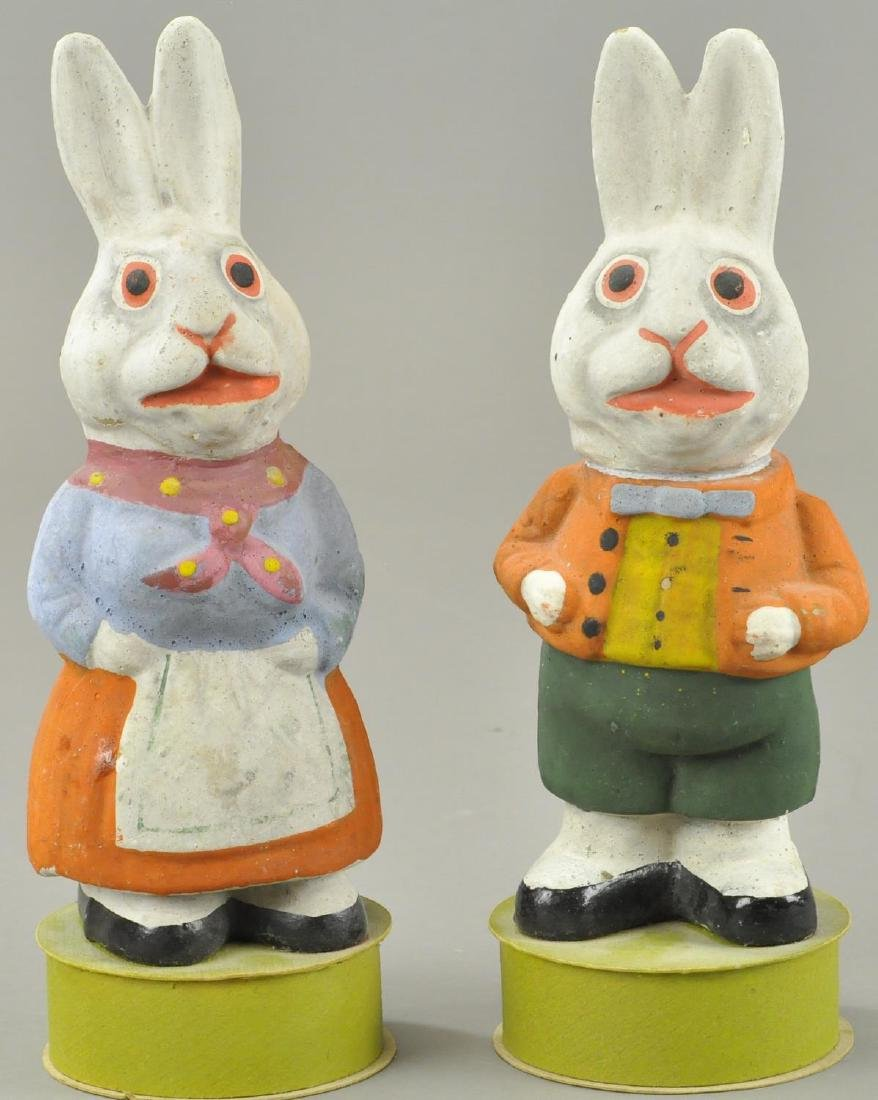 TWO EASTER BUNNY CANDY CONTAINERS