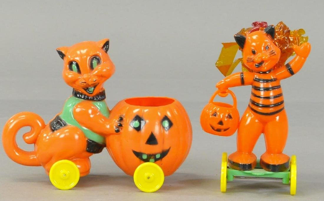 TWO PLASTIC CAT CANDY CONTAINERS