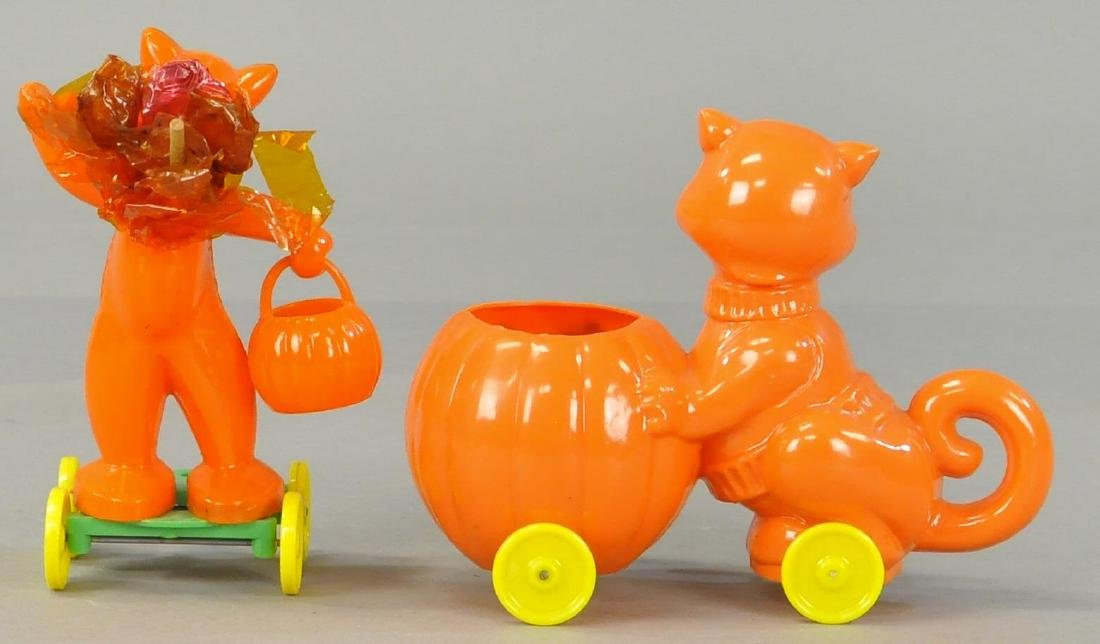 TWO PLASTIC CAT CANDY CONTAINERS - 2