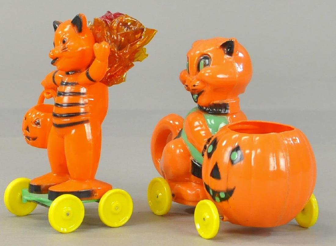 TWO PLASTIC CAT CANDY CONTAINERS - 3